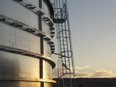Large steel water tank